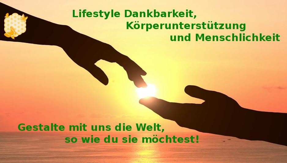 Lifestyle Dankbarkeit, Körperunterstützung und Menschlichkeit